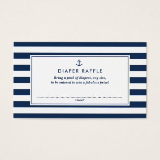 Navy Blue Nautical Diaper Raffle Baby Shower Game Business Card