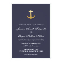 Navy Blue Nautical Faux Gold Foil Anchor Wedding Invitation