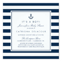 Navy Blue Nautical It's a Boy Baby Shower Card