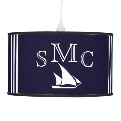 Navy Blue Nautical Monogram Sailboat Ceiling Lamp