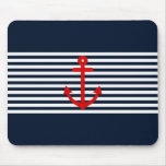 Navy Blue Nautical Mouse Pad