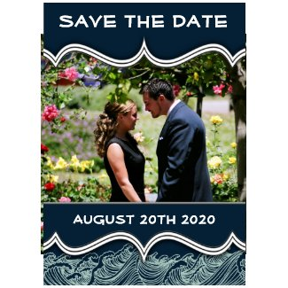 Navy Blue Nautical Photo Save the Date Cards invitation