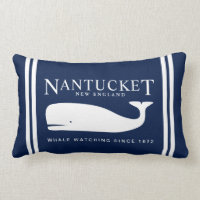 Navy Blue Nautical Pillow Nantucket Whale Label
