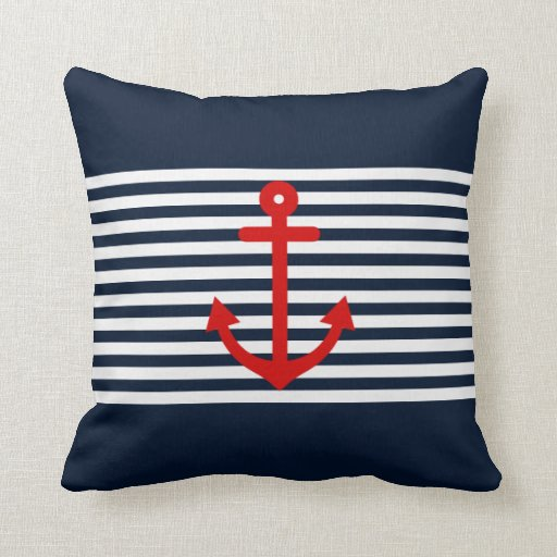Navy Blue Nautical Pillows Zazzle
