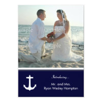 Navy Blue Nautical Post-Wedding Photo Invitations