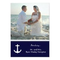 Navy Blue Nautical Post-Wedding Photo Invitations