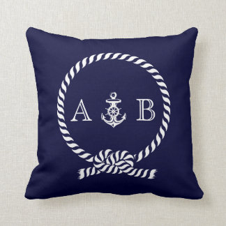 Navy Blue Nautical Rope and Anchor Monogram Pillow