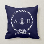 "Navy Blue Nautical Rope and Anchor Monogram Throw Pillow<br><div class=""desc"">Modern and trendy design features a nautical rope and anchor illustration and can be personalized with your monogram,  initials,  name,  or text of your choice for a one of a kind gift.</div>"