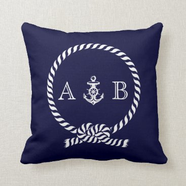 heartlocked Navy Blue Nautical Rope and Anchor Monogram Throw Pillow