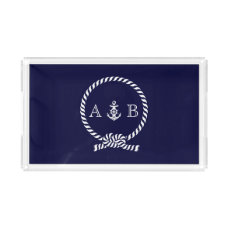 Navy Blue Nautical Rope and Anchor Monogrammed Acrylic Tray