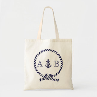 Navy Blue Nautical Rope and Anchor Monogrammed Budget Tote Bag