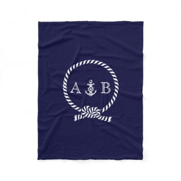 heartlocked Navy Blue Nautical Rope and Anchor Monogrammed Fleece Blanket