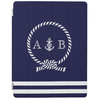 Navy Blue Nautical Rope and Anchor Monogrammed iPad Smart Cover
