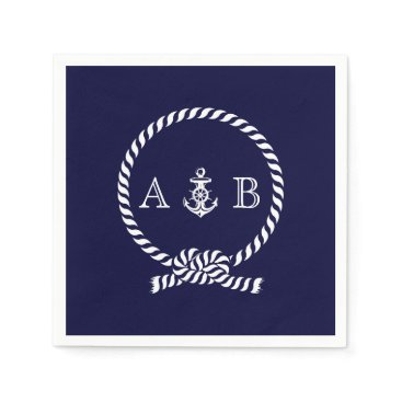 heartlocked Navy Blue Nautical Rope and Anchor Monogrammed Napkin