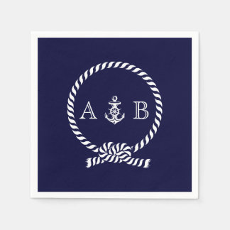 Navy Blue Nautical Rope and Anchor Monogrammed Standard Cocktail Napkin