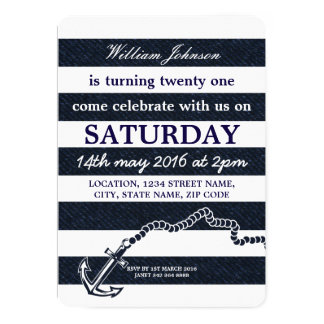 Navy Blue Nautical Sailor Coast Anchor Birthday Card