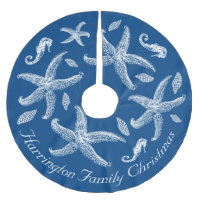Navy Blue Nautical Sea Life Design Custom Text Brushed Polyester Tree Skirt