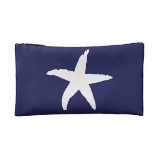 Navy Blue Nautical Sea Star Makeup Bags