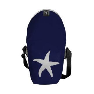 Navy Blue Nautical Sea Star Messenger Bag