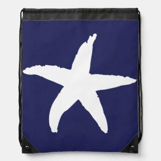 Navy Blue Nautical Sea Star Drawstring Backpack