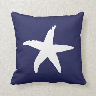 Navy Blue Nautical Sea Star Throw Pillow