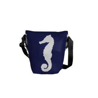 Navy Blue Nautical Seahorse Courier Bag