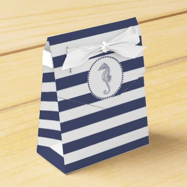 Beach Themed Navy Blue Nautical | Seahorse Favor Box