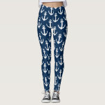 "Navy blue nautical ship anchor pattern leggings<br><div class=""desc"">Navy blue nautical ship anchor pattern leggings. Maritime clothing for women and teen girls. Personalizable tights with custom color background. Make your own custom printed pants for fashion shoot, workout, gymnastics, dance, gym, fitness, work out training, yoga, jogging, figure skating, cheerleading, rowing, tennis, softball, volleyball, soccer, teams, running, athletics and...</div>"