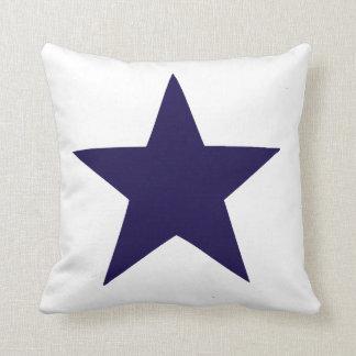 Navy blue nautical star on white background throw pillow