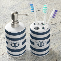 Navy Blue Nautical Stripe and Anchor with Monogram Bath Accessory Set