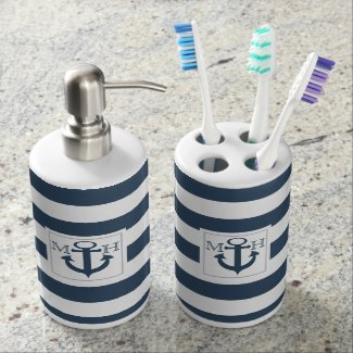 Navy Blue Nautical Stripe and Anchor with Monogram Soap Dispensers
