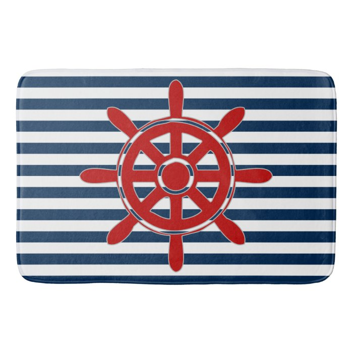 Navy Blue Nautical Stripe With Red Captain S Wheel Bath