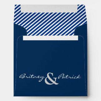 Navy Blue Nautical Striped Wedding Envelopes