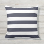 "Navy Blue Nautical Stripes Outdoor Pillows<br><div class=""desc"">Navy Blue bold nautical stripes pillow for outdoor use. Made in the USA. Vivid high quality printing. UV and mildew resistant garden or patio pillows in with modern striped designs in vibrant summer colors. Available in 16&quot; or 20&quot; square and 13&quot; by 21&quot; rectangular sizes. Insert included. (Also available as...</div>"