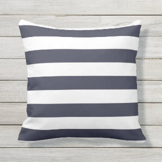 Navy Blue Nautical Stripes Outdoor Pillows