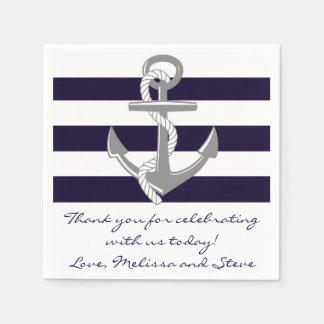 Navy Blue Nautical Thank You Wedding Napkins Standard Cocktail Napkin
