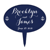Navy Blue Nautical Wedding Cake Toppers