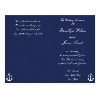 Navy Blue Nautical Wedding Ceremony Program Flyer