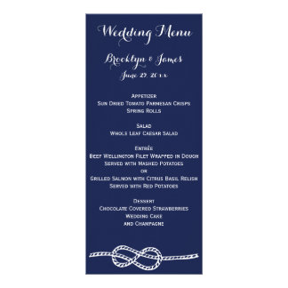 Navy Blue Nautical Wedding Menu Cards Knot Rack Card Template