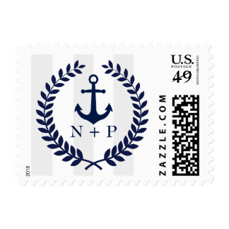 Navy Blue Nautical Wedding Monogrammed Postage