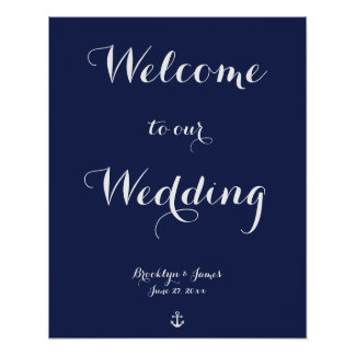Navy Blue Nautical Wedding Reception Sign Print