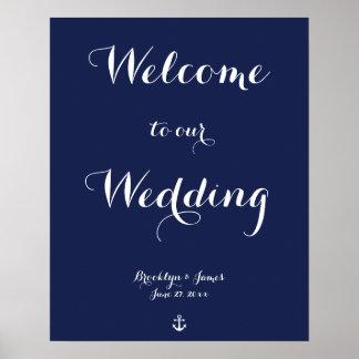 Navy Blue Nautical Wedding Reception Sign Print