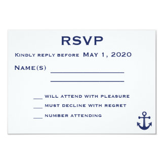 Navy Blue Nautical Wedding RSVP Card With Anchor Personalized Invitation