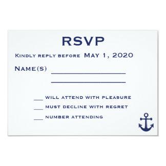 "Navy Blue Nautical Wedding RSVP Card With Anchor 3.5"" X 5"" Invitation Card"
