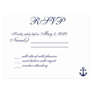 Navy Blue Nautical Wedding RSVP Postcard Names