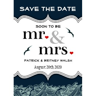 Navy Blue Nautical Wedding Save the Date Cards invitation