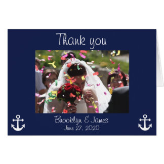 Navy Blue Nautical Wedding Thank You Cards Picture