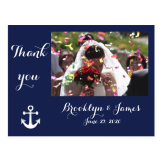 Navy Blue Nautical Wedding Thank You Postcards