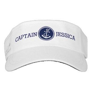 Navy Blue Nautical White Anchor Visor