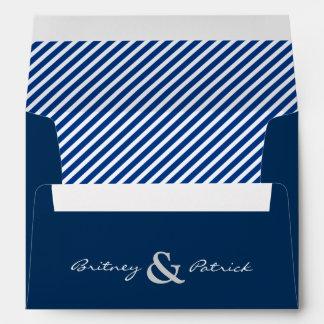 Navy Blue Nautical White Striped Wedding Envelopes